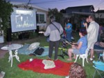 Beatles Rock Band on the backyard big screen!