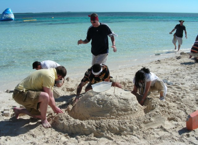 Now find your team and build an IBX datacenter our of sand on the beach!