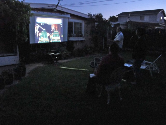 First Beatles Rock Band on the backyard big screen!