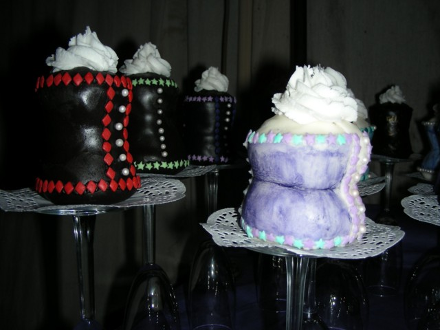 Closeups of red & lavender corset cupcakes
