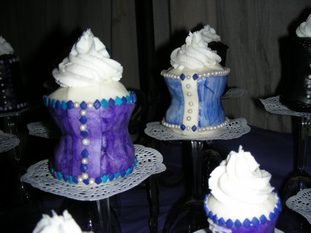 Closeups of purple & blue corset cupcakes