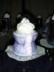 Extra-curvy lavender full-size corset cupcake