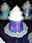 Full-size purple corset cupcake