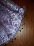 Finishing with translucent lavender organdy ribbon - yes those are teal pins! ;)