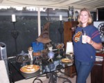 Gryffindor Britta with her butterbeer float, all ready for HP6 movie night!