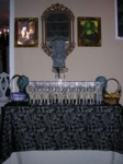 Skeleton goblets, plates & napkins ready for the buffet
