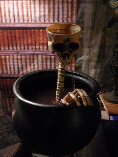 The skull fountain with blood-red punch