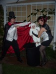 Magician Dave, Lady Wendy & Jax the White Rabbit coming out of the top hat