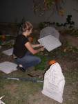 Britta setting up the graveyard on Friday night