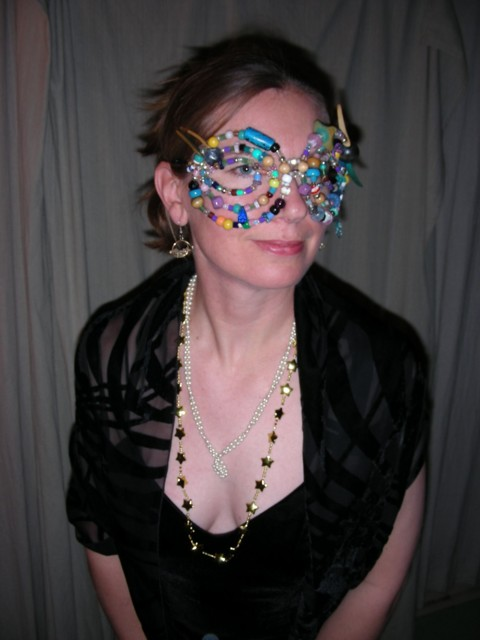 Robin with her fabulous beaded mask