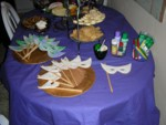 Party food with edible masks ready to decorate
