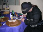 Kaye decorating an edible mask