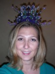 almost finished fairy princess crown - cheap plastic purple little kid crown with beads & floral hotglued to it