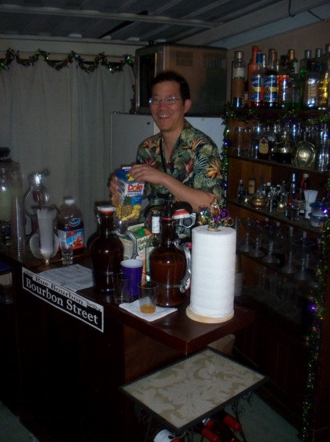 Volunteer bartender Kevin should have had a tip jar! His hurricanes were mighty tasty!