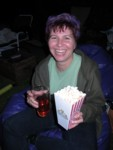 Cyd models the new Cinema Brittahytta popcorn boxes