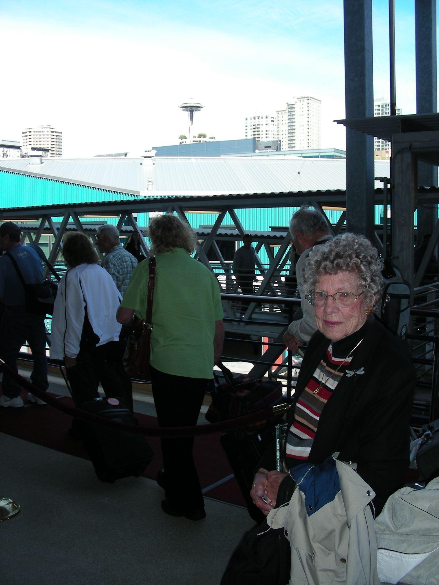 Grandma in line boarding the Celebrity Infinity in Seattle