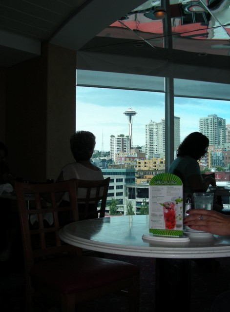Eating lunch at the buffet on board, with a nice view of the Spaceneedle