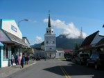 Downtown Sitka, with St Michael's Russian Orthodox Cathedral