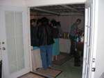Partying people through new french doors