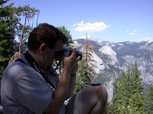 Ben taking photos from our picnic site at Glacier Point