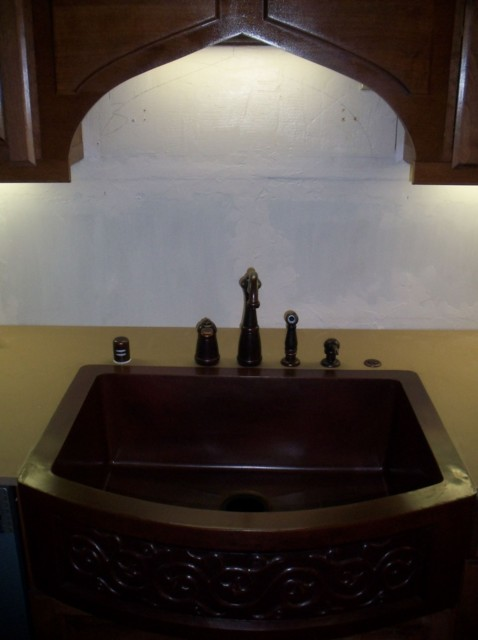 Pretty copper sink, lovely faucet composition, framed by custom arch! - July 2009