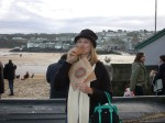 Fri Dec 31 07:52:04 2004 Britta eating an authentic Cornish pasty in Cornwall!