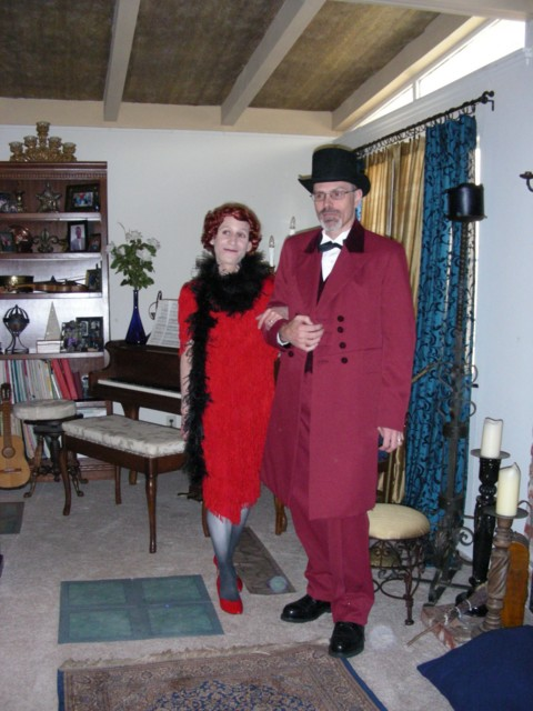 Miss Scarlet (Lyle) and Professor Plum (Galt) in the Ballroom (red pumps courtesy of Britta's closet!)