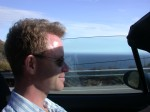 Andy driving the BRIATA with the Pacfic Ocean behind! What a taste of California, eh?