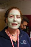 Lori models one of the now-traditional tour facials