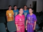 Intermission backstage - beautiful dresses! Members of Imusicapella