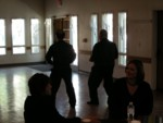 Still more War Song choreography rehearsal while waiting to sing for First Presbyterian Church early Sunday morning