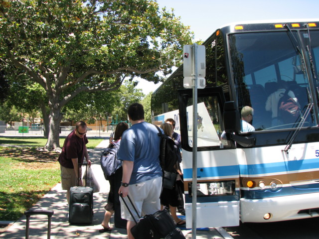 The bus arrives at Lincoln High to take us to SLO