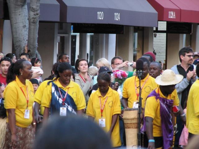 Christ the King choir sings on the street