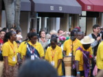Christ the King choir sings on the street