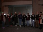 Caroling at Christmas in the Park in San Jose (Dec 19th, 2005)  From left to right: Nathania, Sheila, Juanita, Jack, Johnathon, Melanie, Kevin, Ben, Bill, Britta and Robin (cropped out - sorry Robin!)