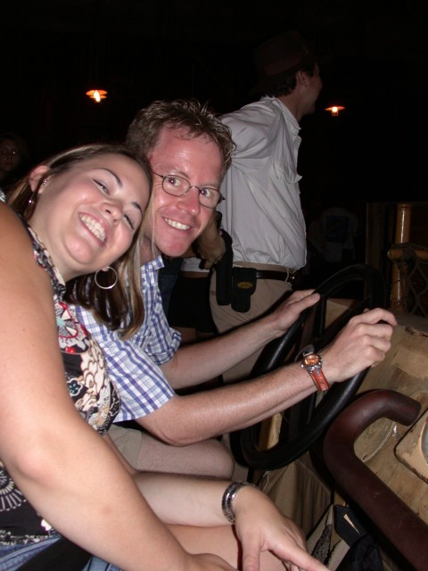 Cheesy Melanie with Andy ready to drive the Indiana Jones jeep