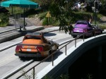 Andy & Melanie driving in the Autopia