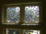 More spiderweb leaded glass windows - there are 13 windows in this bathroom