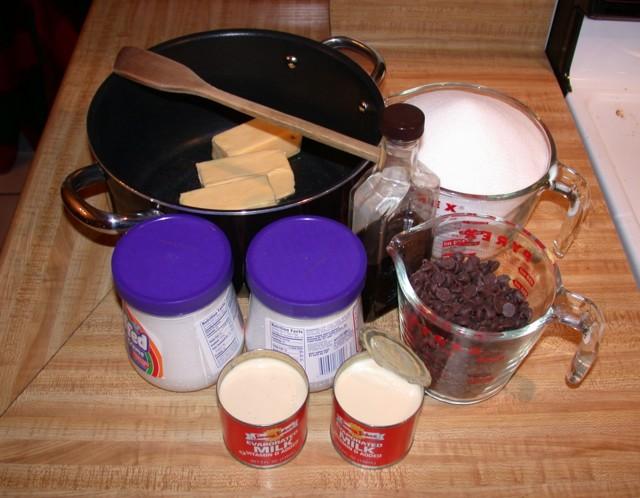 Ingredients for SmorgaBritta Fudge: margarine, sugar, salt, vamilla, semi-sweet Ghirardelli chocolate chips, marshmallow creme (no gelatin so veggie safe!) and evaporated milk.
