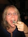 Sheila enjoys a piece!