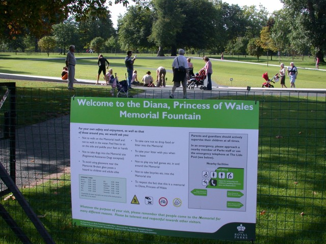 The sign for the Diana memorial - last summer it was only a temporary paper sign since it had just opened
