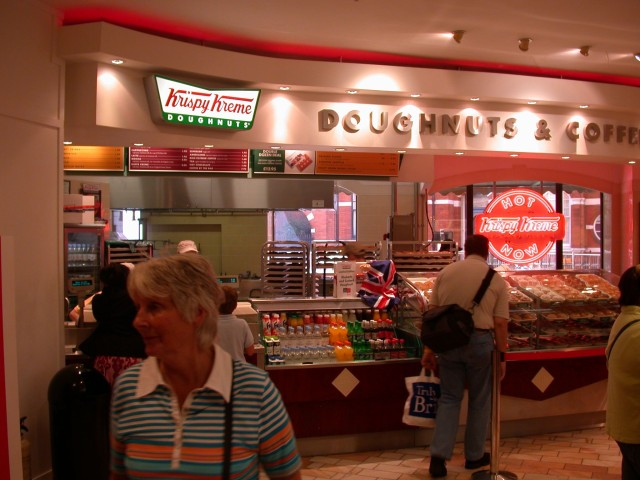 Krispy Kreme at Harrods - odd mix of American in a bastion of British culture