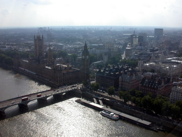 View of Big Ben, Parliament and Westminster Bridge from the London Eye
