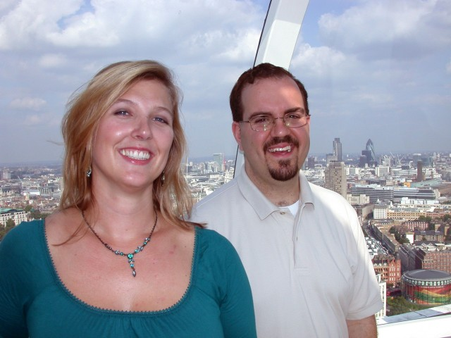 Britta & Ben at the London Eye - much too close!