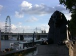 The Sphinx at Cleopatra's Needle with the London Eye