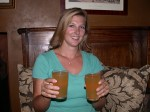 Britta with more Addlestones - they were out of pint glasses, so I had two half-pints :)