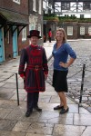 A Beefeater & Britta (I liked this view better, but the Beefeater teased me about my pose!)