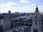 View of the Thames and Westminster and the London Eye from the Stone Gallery level of St Paul's Cathedral