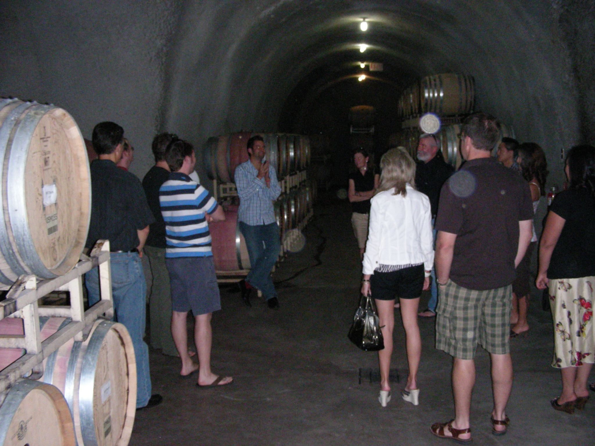 Inside the wine cellar caves at Miner Family Winery