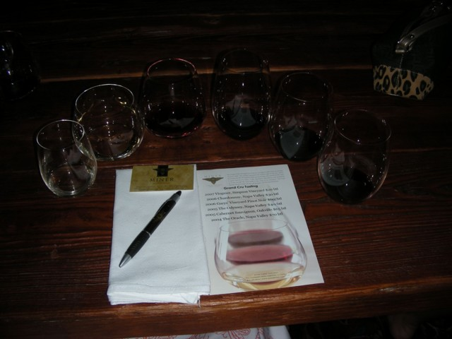 6 wines ready for tasting at Miner Family Winery